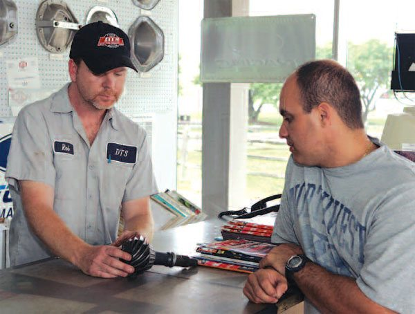 Here you can see the ever helpful counter person at DTS is actually the sales and service manager. Rob Gutowski takes the time to explain the intricacies of the hardware and function to help the customer make the correct decision. (Randall Shafer)