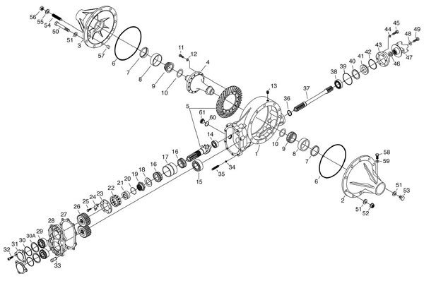 This exploded view of an axle shows the power flow through the assembly. The input from the driveshaft is shown on the upper right portion. Then it drives a shaft that goes to spur gears in the back of the housing, then eventually transfers torque to the spiral bevel gears. (Winters Performance)
