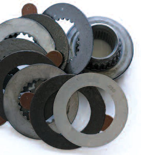 We have arranged the clutch-pack stack and shim so that you can see the proper order of the steel and friction plates. It is important to get the order right to achieve the correct performance. This stack requires a 0.020-inch shim.