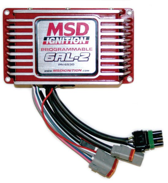 MSD's Programmable Digital 6AL-2 control box allows you to program in various RPM limiting functions for use at various places. The burnout RPM limit and an overall RPM limit are two good examples. This box is essential in a car with a manual transmission to avoid over-revving the engine.
