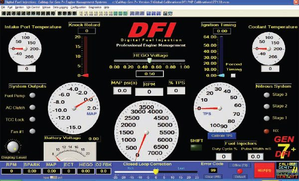 The Accel DFI system opens up initially to the virtual dashboard that shows all major sensor and engine data on one convenient screen.