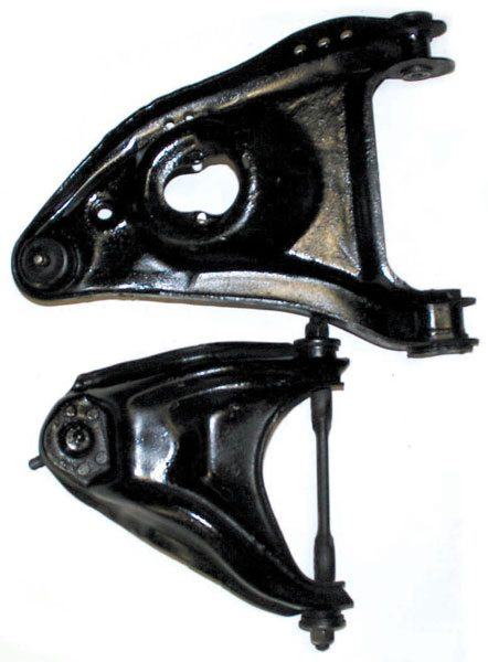 Here are both upper and lower control arms from a GM A-Body. The upper arm does not have to support the spring or the shock, as does the lower arm, so it can be lighter.