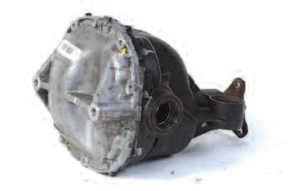 This Ford Explorer 8.8-inch independent axle has a cast aluminum housing. The sensor in the upper right measures ring gear speed and is part of the anti-lock brake system.