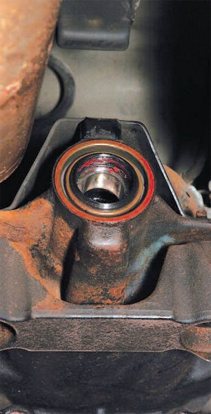 Once properly installed, the pinion seal should look like this. Notice that the pinion tail bearing is now trapped in place. This means that you installed the tail bearing before the seal. (Randall Shafer)