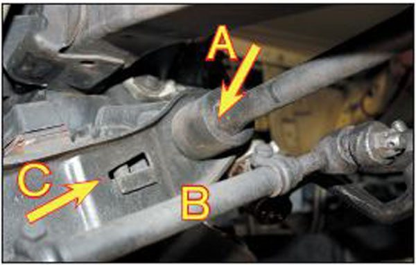 The front of the bar has another hex shape (A), which fits into the lower control arm. You can see the tie rods behind the control arm (B), and the adjuster bolt (C) threads through the small window in the arm itself.