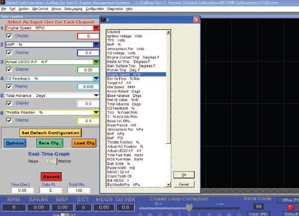 A constantly scrolling screen shows the values for up to six channels simultaneously during recording. These traces can later be overlaid upon the base fuel and spark maps to show what cells were used during a run.