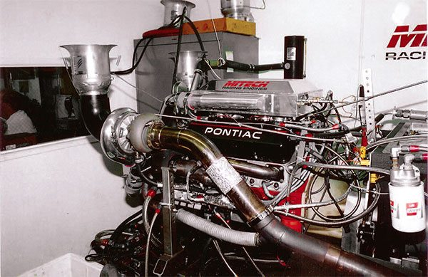 Dyno testing is the final step prior to installation in the car. Here, a 300-mph, 1,400-hp twin turbo small-block Chevy endures the break-in process at Mike LeFevers' Mitech Racing Engines facility in Placentia, California.