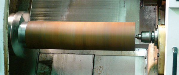A billet crank begins with a solid billet of material weighing several hundred pounds. The setup and programming time for this procedure is lengthy and expensive. (Courtesy Scat Enterprises)