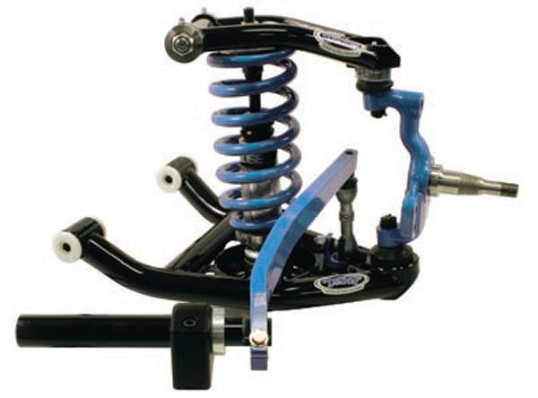Tubular A-arms, a tall drop spindle, coil-overs, and front sway bar, from Detroit Speed. The A-arms have greasable Delrin bushings and offset slugs for more caster adjustment. They play a very important supporting role in this package. (Photo Courtesy Detroit Speed and Engineering)