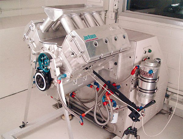 Spintron unit at Comp Cams permits development of more radical camshaft designs. The Spintron is a dyno-like motoring device that independently drives racing engines at elevated RPM to evaluate valvetrain dynamics. (Photo Cour¬tesy Comp Cams)