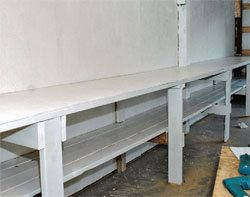 When your bench is done, paint it to protect it from moisture and spills. If you paint the bench white, it reflects light around your shop and helps you see your projects. Plus it just looks great.