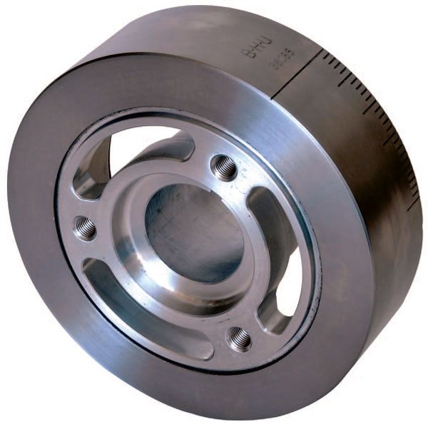 Many crank manufacturers recom¬mend the smallest and lightest dampener available. This BHJ S.F.I. 18.1 unit for a big-block Chevy fits the description. Elastomer-type dampen¬ers are preferred because of their durability and superior high-frequency damping qualities. And because they are capable of damping all types of vibrations: torsional, axial, and radial.