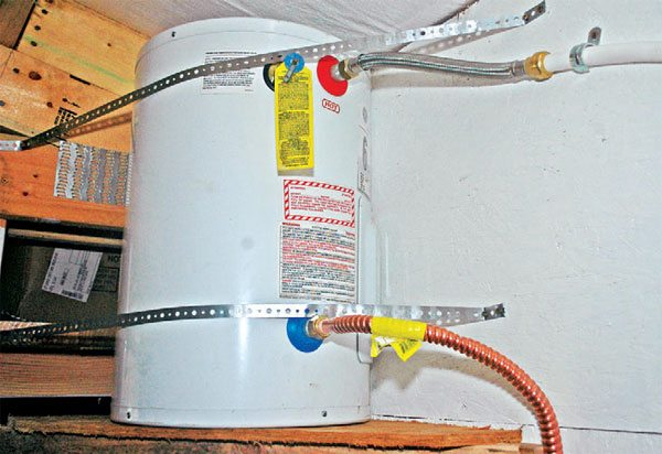 A larger apartment-size water heater will provide enough hot water for any use you might have in a larger workshop. You can install it on a shelf to keep it out of the way.