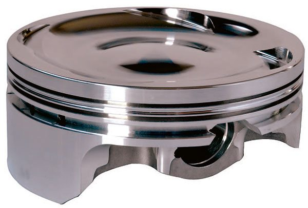 High-performance dished pistons are desirable in supercharged and turbo¬charged applications where the static compression ratio must be limited to ensure a safe and effective compres¬sion ratio under boosted conditions.