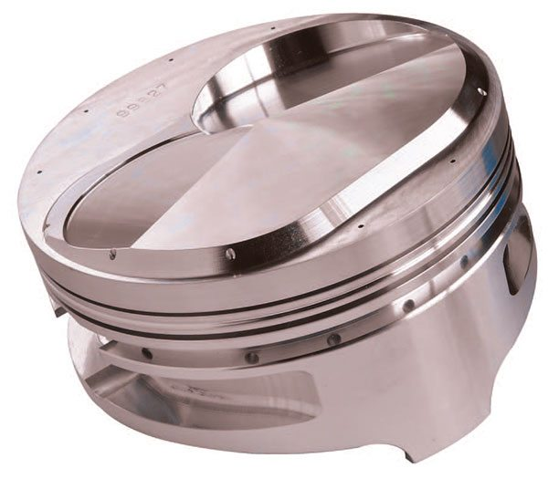 Contoured piston tops cut specifically to match a known combustion cham¬ber shape and size are commonly used in specific racing applications. Manufacturers such as Ross Pistons can digitize your chambers for an exact match.