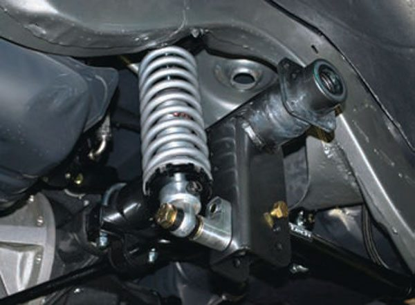 Rear coil-over conversions for the GM A-body are becoming widely available. This one is from SpeedTech and incorporates several adjustment holes for the lower trailing arms as well. Note the swivel portion of the arms, which reduces torsional binding. This package also makes use of a link-mounted adjustable-rate rear sway bar. This makes for a well-rounded system with enough adjustment to dial it in for many different pursuits, from autocross to drag racing. Similar packages, each with their own twists, are available from DSE, SC&C, Hotchkiss, Global West, and Chassisworks. Take your time, check out the details of each system, and then make a well-informed decision on which one can work best for you.