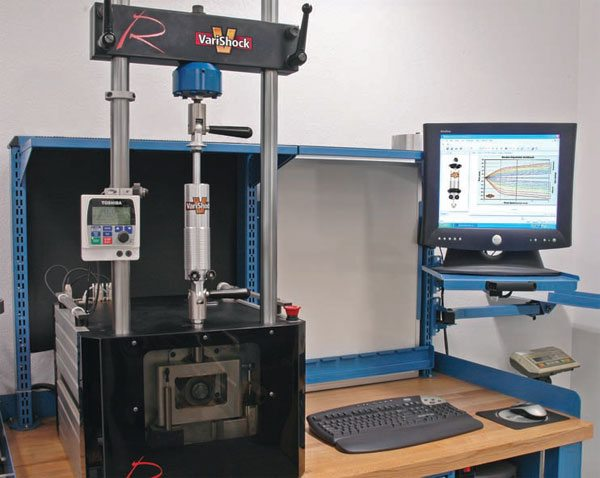 Like an engine dyno, this computerized shock dyno is used to quantify and chart performance. The results can be plotted to show the dampening curves of the shock at different settings. (Illustration Courtesy VariShock)