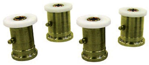 Delrin replacement bushings (like these DSE units) can be installed in stock lower arms. They provide a nice improvement in performance with little penalty in ride quality. Make sure your arms are in good condition before you spend the time and money to upgrade the bushings. (Photo Courtesy Detroit Speed and Engineering)