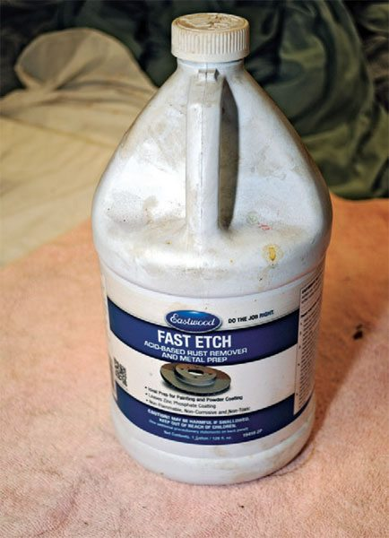 Eastwood Rust Dissolver is made of urea hydrochloride, and it eats rust very quickly. Give it a little more time and it attacks the rest of your iron part and eats it away into nothing. You can neutralize this product with water; you want to do that as soon as the rust is off your parts.