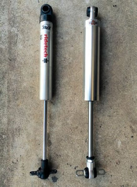 The Ridetech RQ (left) and Varishock QS (right) shocks shown here represent a new generation of non-adjustable performance shocks. They incorporate thoroughly modern valving technology with factory settings that are intended for performance street use. Their modest price point and no guesswork valving make them an attractive choice for cruisers and entry-level Pro Touring cars.