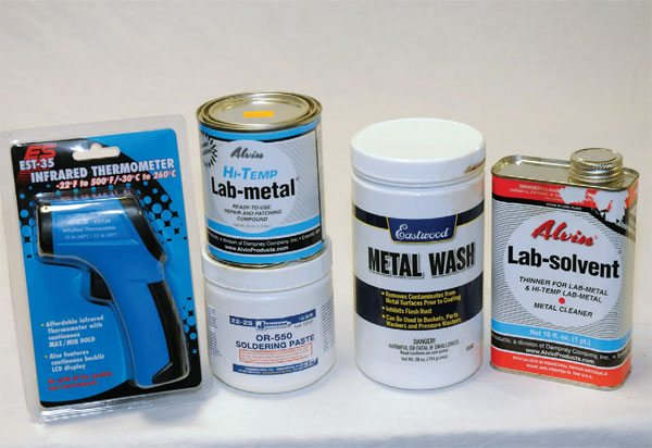 Eastwood carries a great selection of solder supplies. You can use Lab-metal instead of Bondo-type products and still powder coat your parts.