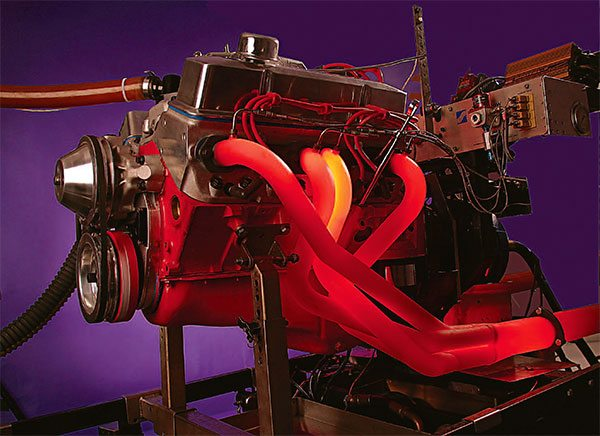 Exhaust primary tube cross section determines the torque peak RPM while length influences the shape of the torque curve. Glowing headers look cool in photos and may indicate very high power under heavy load, but in many cases it indicates retarded timing with fuel still burning in the pipes.
