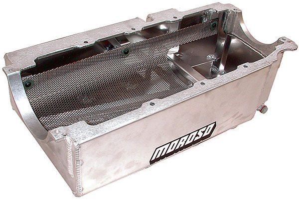 Moroso deep-sump big-block Chevy oil pan illustrates typical wet sump con¬struction with full-length 7-inch-deep sump, metal oil stripper screen, and internal baffles to isolate and keep the pickup submerged.