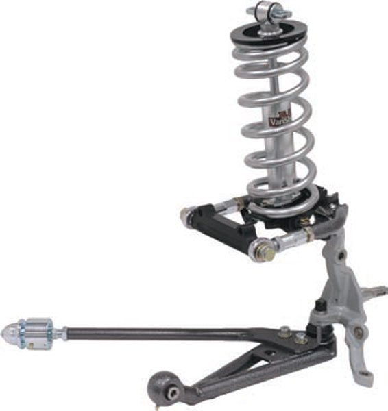 Traditional Ford suspensions have some obvious differences, but if you disregard the different shock and spring mounting, there's still an upper A-arm. There is a lower A-arm as well—made up of two components: the arm and the strut rod. Together they form a single A-arm and complete the SLA suspension system. (Photo Courtesy Total Control Products)