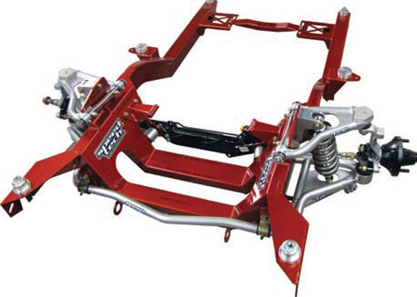 Another very popular option with first gens is to simple swap out the old subframe for a brand new one with the features you want built into it. This subframe is from SpeedTech and it's unique in that it accepts many of the same parts that fit stock subframes. It does away with the stock steering box in favor of a rack and pinion, which also frees up some wheel and tire room. It also has a built in G Mod or it can be ordered with AFX tall aluminum spindles. (Photo Courtesy SpeedTech Performance USA)