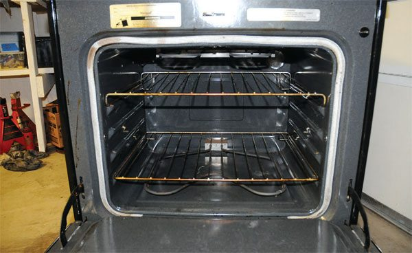 A standard 30-inch-wide kitchen range offers an oven space about 24 inches wide, 18 inches deep, and 14 inches tall. This is big enough to cure most automobile wheels and many larger parts.