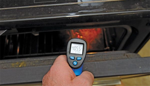 Another great tool is an infrared thermometer. Just point it at the part and pull the trigger. It puts a little laser-light dot on the part and tells you the temperature. This is great for determining if powder coat on heavier parts has come fully up to curing temperature.