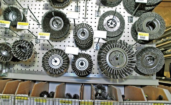 Any hardware or tool store should have a wide selection of wire wheels for your bench grinder. Many shops use two or more bench grinders with wire wheels of varying stiffness (different wire grades) for different purposes.