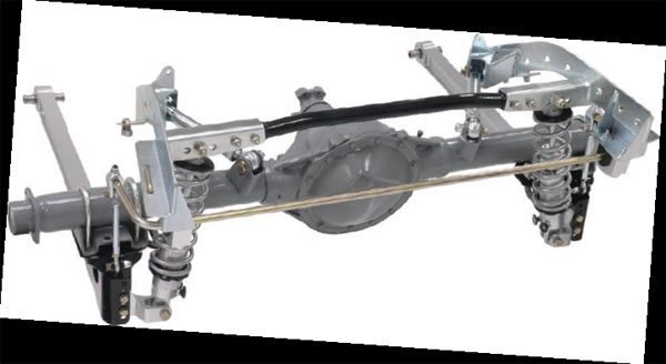 The Chassisworks G-Link is also a triangulated four-link arrangement. This one is shown bolted to an original GM 12-bolt rear axle. Installation is nearly as simple as the AirBar, using several factory holes to locate the mounting cradle, but the G-Link should also be welded in place. Weld-on axle mounts are available to those who want them. This makes the unit rock solid and allows the cradle to impart additional strength to the factory unibody structure, which is a big plus on high-horsepower cars. This package has numerous options, such as the sliding link adjustable-rate sway bar (shown) and billet-aluminum arms (also shown). It can be ordered with non-adjustable, single-adjustable, or double-adjustable coil-overs or the same choices in a Shockwave. It can be ordered for standard or minitubbed applications as well.(Photo Courtesy Chris Alston's Chassisworks)