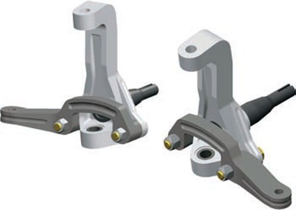 Aftermarket tall spindles can be a great solution to geometry issues. They also come in a variety of styles, so make sure that all of their features complement your package before you buy. This billet aluminum Chassisworks tall spindle is a replacement for 1968–1972 GM A-Body cars and 1967–1969 GM F-Body cars (with a different steering arm). It offers improved suspension geometry as well as corrected bump steer with new steering arms. This is a non-drop spindle so it works very well with lowering springs. Many tall spindles are also 2-inch drop spindles. Combined with performance lowering springs, they may result in a car that is too low to be functional. Tie-rod end to wheel/tire clearance is also reduced; be sure to check how much room you have before you select drop spindles. (Photo Courtesy Chris Alston's Chassisworks)