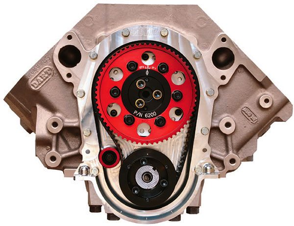 Belt drive systems like this Comp Cams big-block Chevy unit are the most desirable cam drive devices for all-out max-performance race engines. They deliver rock-solid timing with broad adjustability and durability. The belt also isolates crankshaft harmonics better than most mechani¬cal drives.