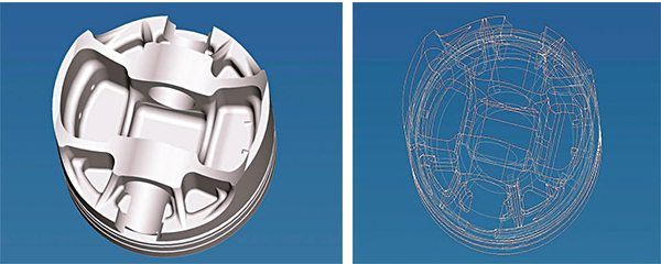 Piston engineering and design software helps piston designers model and evaluate various piston designs to suit specific operational requirements. The rendering on the left illustrates the use of reinforcement struts around the in¬board pin bosses. The wire-frame model on the right shows the basic engineer¬ing design prior to surface rendering. (Courtesy Ross Pistons)