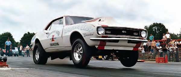 The Northeast had an excellent mix of drag cars, especially in the late 1960s when Super Stock began to evolve into more aggressive classes, such as Pro Stock. Car technology came a long way during the 1960s, even for stock-body doorslammers such as this Locomotion 1968 Camaro at Dover Drag Strip. Big power and better tires helped these cars get down the track. (Photo by T. O'Shea, Courtesy www.doverdragstrip.com)