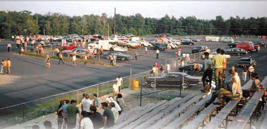 Connecticut Dragway gave hot rodders and racers in the more extreme Northeastern areas a great place to race. This shot of the pits and staging lanes shows a great selection of cars at one of its many Funny Car meets in the early 1970s. (Photo Courtesy Bob Snyder)