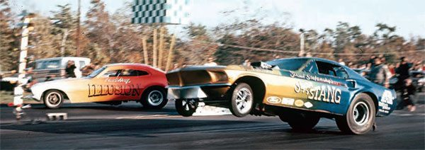 Connecticut Dragway had its share of wild action, especially in the heyday of funny car racing. This photo of two seemingly out-of-control funny cars—The Illusion in the far lane and Paul Stefansky's Super 'Stang in the near lane—is a great example of the crazy passes made by fearless drivers. The Christmas tree was very vulnerable, with absolutely no protection from Funny Car madness. (Photo Courtesy Bob Snyder)