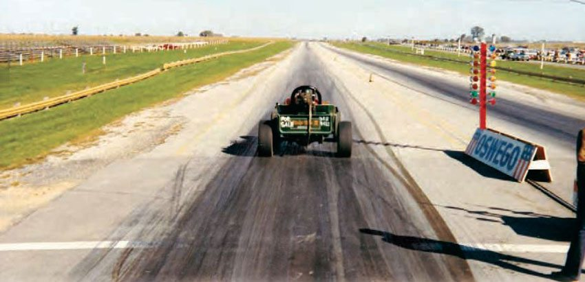 "Oswego provided plenty of wiggle room but don't be fooled by the expanse of grass between the track and the guardrail, because it is slightly banked. Oswego was the site of a major crash for Bill ""Grumpy"" Jenkins during a big match race in 1977, which left his Pro Stock Monza atop the guardrail. (Photo Courtesy Brent Fregin)"
