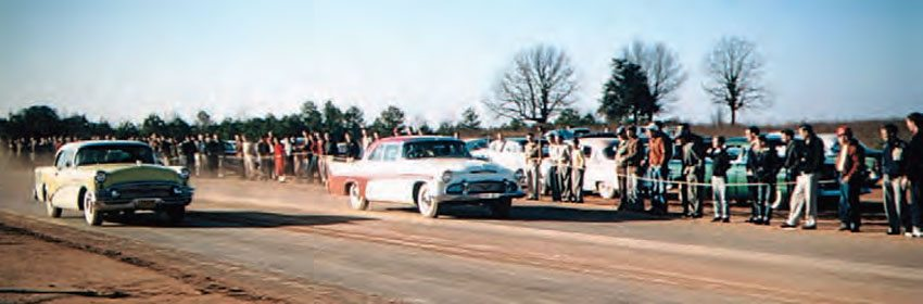 Just south of Chattanooga, Tennessee, the town of Dalton, Georgia, had its own drag strip, which consisted of a packed-dirt racing surface. It is seen here with a Buick versus Desoto battle taking the stage. These cars appear to be stock, but you can bet the dirt surface made it exciting! (Photo Courtesy Larry Rose Collection)