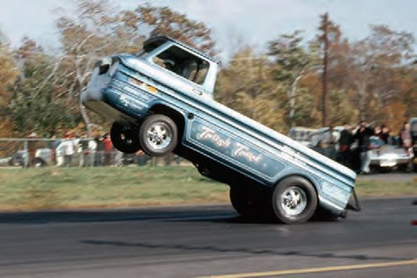 Wheelstanders were a popular exhibition vehicle in the heyday of drag racing, and they still get lots of attention these days. There was an abundance of wheelie machines in the 1970s, with plenty of alternative designs, such as the Trash Truck, a Chevy Corvair pickup. (Photo Courtesy Bob Snyder)