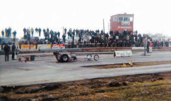U.S. 30 Drag Strip was a popular destination for drag racers, especially those in the greater Chicago area. In the early days, the track featured a separate strip of pavement for each lane, with a strip of grass between them. This shot from the 1960s provides a nice view of the spectator seating arrangement and timing tower. (Photo Courtesy Larry Rzepczynski)