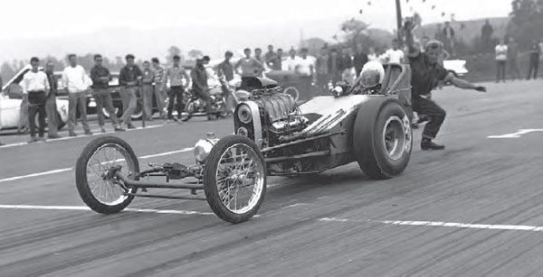 """Pat Bilbow made a big impact on the regional drag racing scene by developing a """"store bought"""" dragster chassis, built in his shop, Lyndwood Welding, in Wilkes-Barre, Pennsylvania. These new dragster frames, known as the Eliminator, were a huge hit in the Northeast, giving racers an alternative to the homemade dragsters of the era. (Photo by Dick Donofrio, Courtesy www.doverdragstrip.com)"""