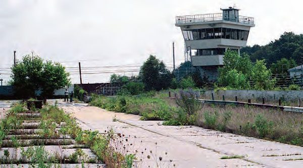 In 1992, the tower still stood tall, and all of the track's bleachers and guardrails were still intact. At some point, the track was stripped and the buildings were torn down, leaving only the pavement to tell the story. (Photo Courtesy Mike Sopko)