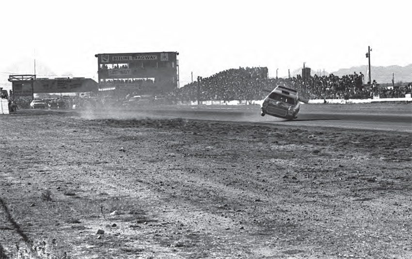 Although it's hard not to notice the wild ride occurring on the track, this classic photo shows the general landscape of the track. With a very wide racing surface, and wide strips of grass between the track and safety barriers, Bee Line gave racers a bit of wiggle room if things got out of hand. (Photo Courtesy Don Gillespie Collection)