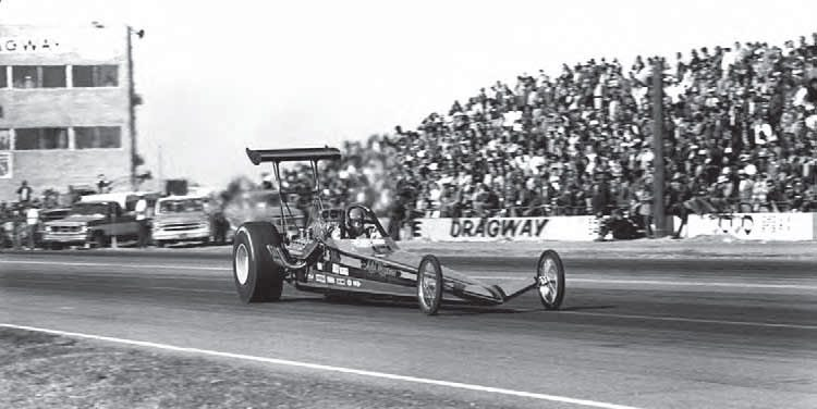 Top Fuel racer Mike Wagoner is seen here making a pass at Bee Line Dragway at the 1974 AHRA Winter Nationals. During the AHRA era, the track was home to the first points meet of the year, and later went on to host the NHRA season opener known as the Winter Classic. (Photo Courtesy Don Gillespie Collection)
