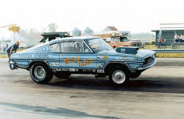 Wayne Wells campaigned this Plymouth Barracuda, which was a favorite for the Mopar crowd at Motion Raceway in Assumption, Illinois. Although the track was built as a conventional drag strip, the initial idea for Motion Raceway involved a coin-operated gate, which gave racers the freedom to come and go as they pleased. (Photo Courtesy Steve Jackson)