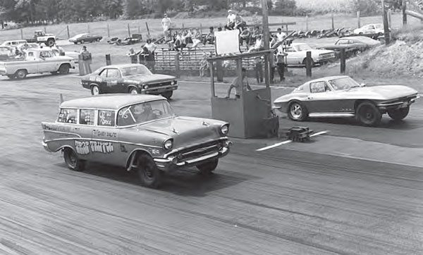 The action at Dover Drag Strip was always worth the price of admission. Big-time match races were common, but the regular racing program offered plenty of excitement. In this photo, Gary Balfe's Trap Tripper 1957 Chevy station wagon does battle against a hardlaunching, big-block Corvette. (Photo by T. O'Shea, Courtesy www. doverdragstrip.com)