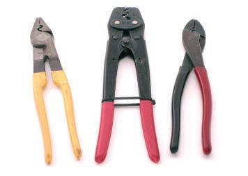 The red/black-handled crimping tool from Klein on the right is my all-time favorite and is good with both insulated connectors up to 14 AWG and non-insulated connectors up to 10 AWG. The yellow-handled Ideal crimping tool is good for insulated connectors up to 8 AWG and non-insulated connectors up to 4 AWG. Finally, the First Forever tool is a compound-action crimping tool good for insulated connectors up to 8 AWG and non-insulated connectors up to 4 AWG.